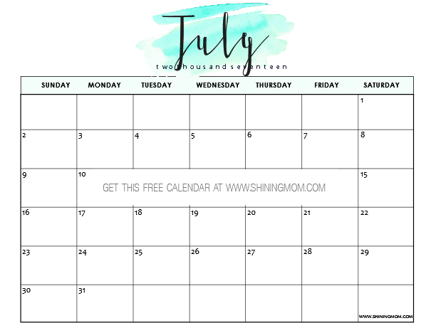 Free Printable July 2017 Calendar: 12 Pretty Designs