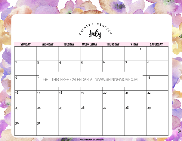 Free Printable July 2017 Calendar: 12 Pretty Designs!