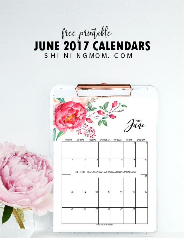 FREE Printable June 2017 Calendar: 12 Awesome Designs!