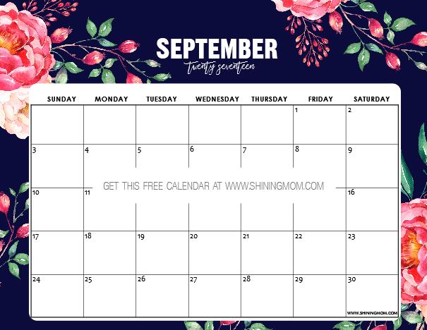 free printable september 2017 calendar  12 beautiful designs