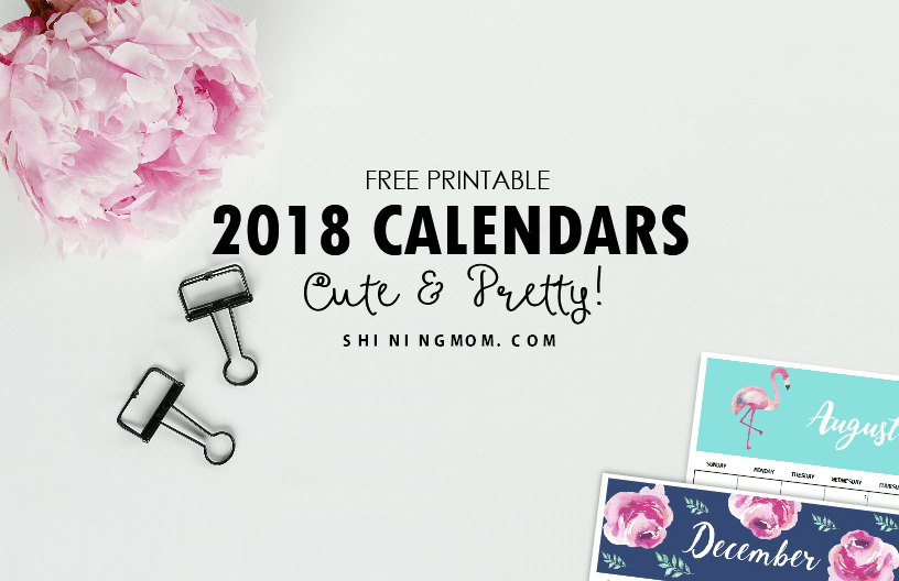 2018 printable monthly calendars
