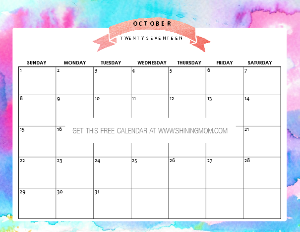 Blank Calendar Colorful : Free printable october calendar awesome designs
