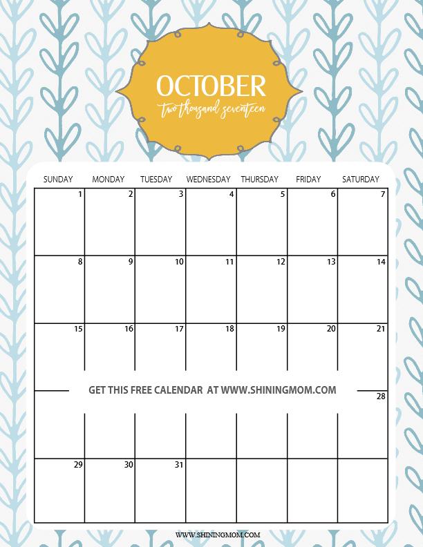 cute October 2017 calendar printable