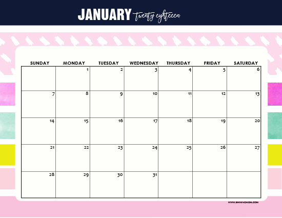 January Calendar Planner : Free printable january calendar awesome designs