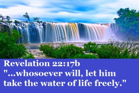 """Revelation 22:17b  """"...whosoever will, let him take the water of life freely."""""""