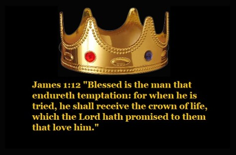 "James 1:12 ""Blessed is the man that endureth temptation: for when he is tried, he shall receive the crown of life, which the Lord hath promised to them that love him."""