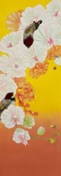 「飛蝶」 51.4×18.2㎝ 白麻紙、水干、岩絵具