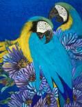 「Blue bird」 10号P 白麻紙、水干、岩絵具