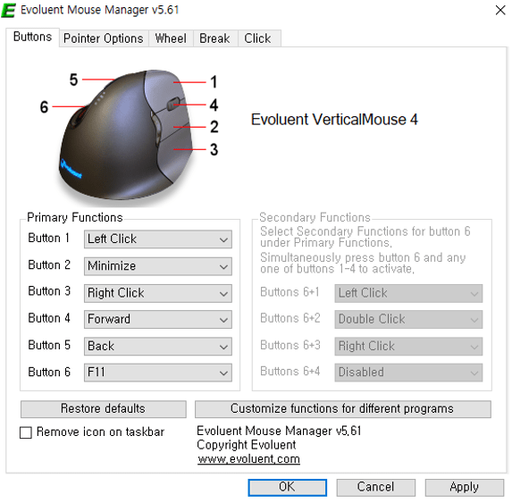 Evoluent Vertical Mouse Manager