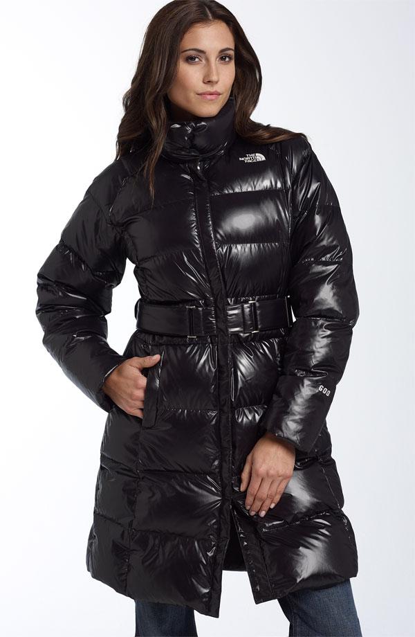 Black The North Face Caroline Down Coat Shiny Nylon