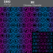 "A repeating pattern of 29 inclusive circled icons along with the words ""Be..."" and ""Be You"" in black with a background of blue and violet vertical gradated stripes. At the top on a gray bar is written ""DBG Baby. BE Colorway: Ultraviolet"""