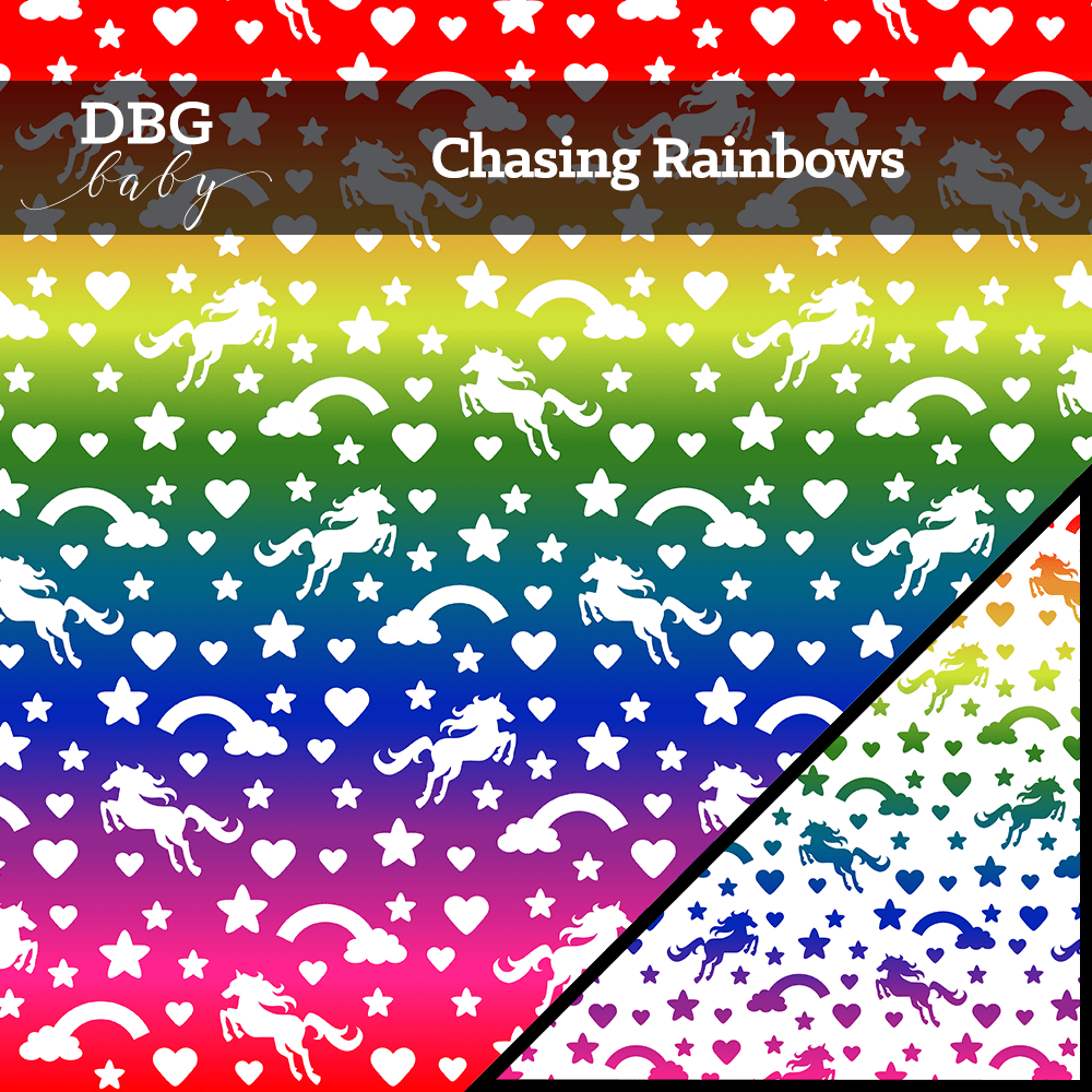 Chasing Rainbows - rainbow gradient fabric with white unicorns, rainbows, hearts, and stars