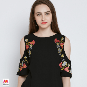 0fd7d097b98 Buy RARE Women Black Embroidered Detail Top from Myntra and get it shipped  to the USA