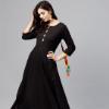 Nayo Women Black Solid Maxi Dress