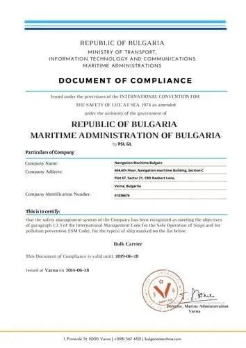 DOC Certificate
