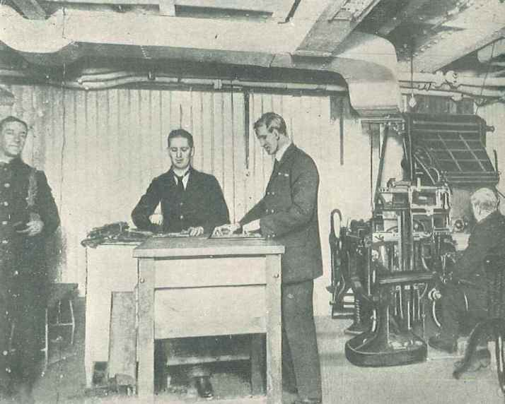 Composing Room for the Daily Mail Atlantic Edition on the HMS Aquitania