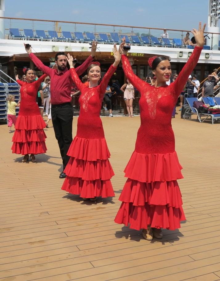 Ole! Flamenco dancers entertain on deck as we leave Barcelona