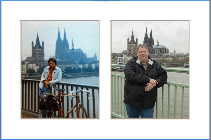 Age span: Standing on a Cologne bridge with the cathedral in the background at ages 17 and 53. I can't pull off the same broody teenage pose now!