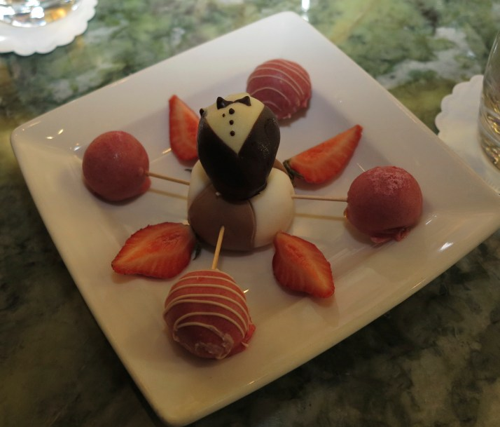 Nice dressing: Even the chocolate strawberries wear a tuxedo