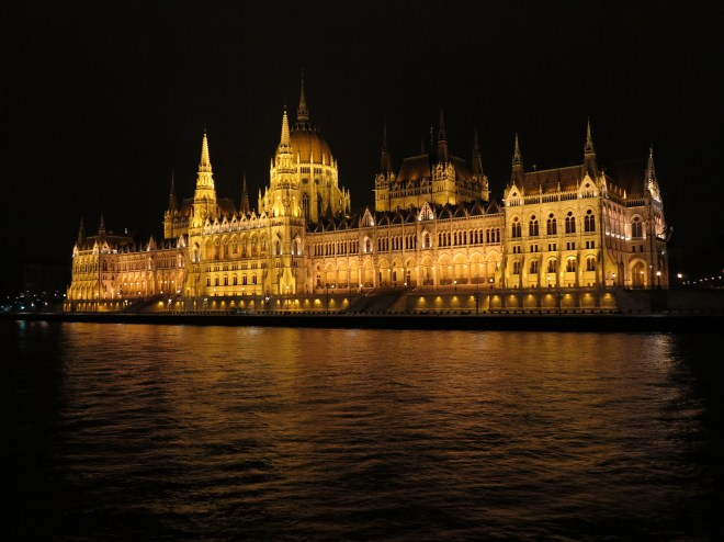 Vote winner: The Parliament building lit up in Budapest