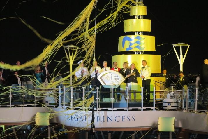 Celebration: Streamers descend after the ship is named