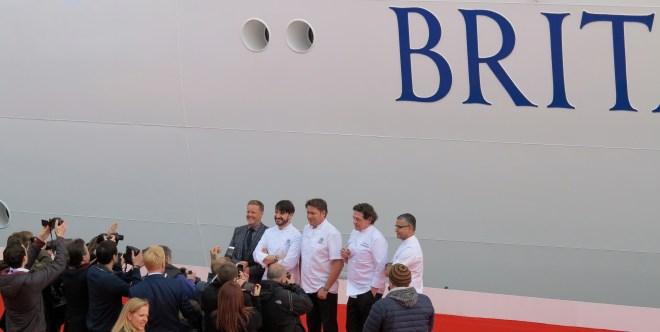 Recipe for success: Olly Smith, Eric Lanlard, James Martin, Marco Pierre White and Atul Kochhar in front of Britannia