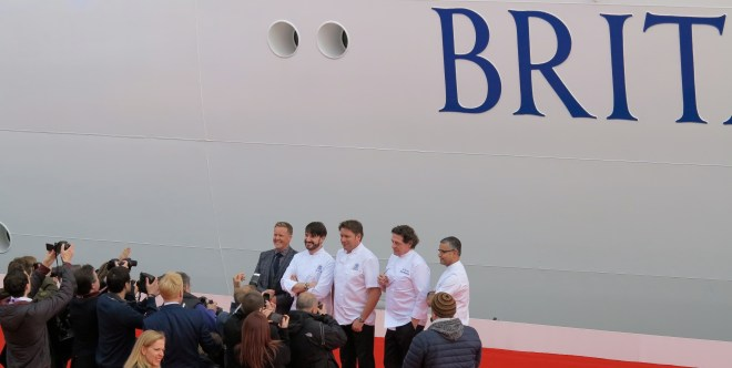 Recipe for success: Olly Smith, Eric Lanlard, James Martin, Marco Pierre White and Atul Kochhar in front of Britannia