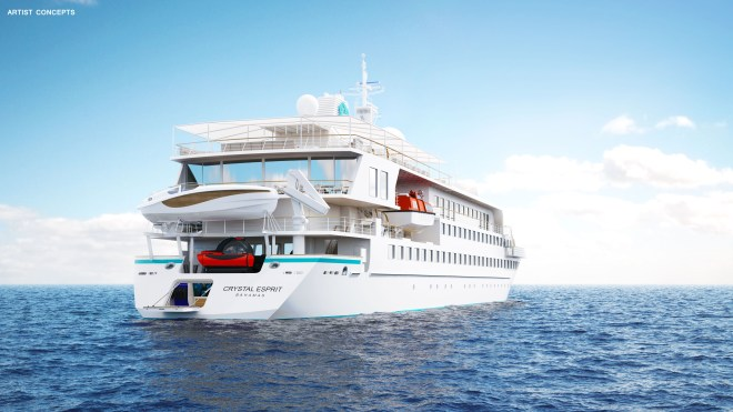 Sleek: The stern of the Esprit (Picture: Crystal Cruises)