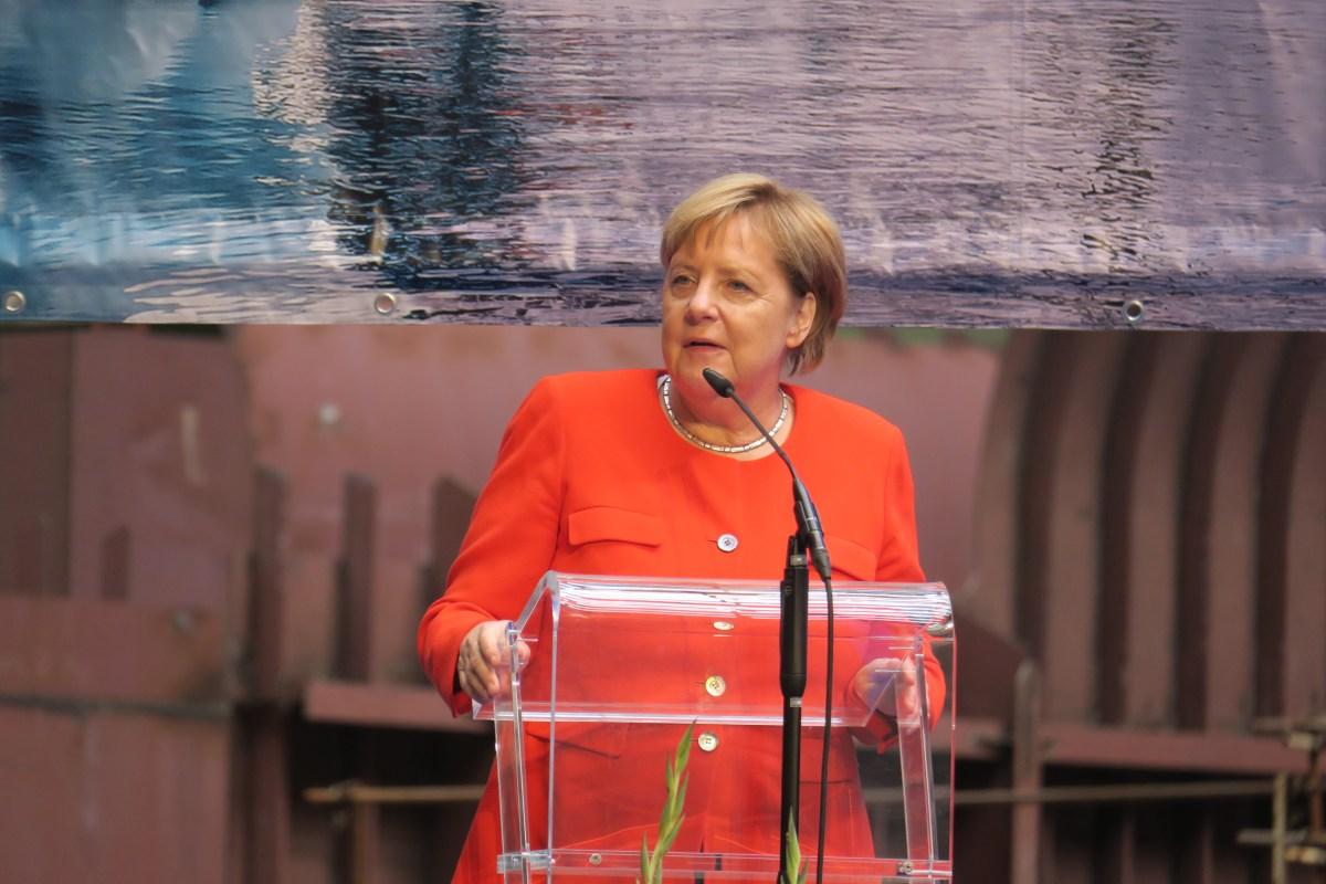Angela Merkel attends keel laying of Crystal's new polar expedition yacht
