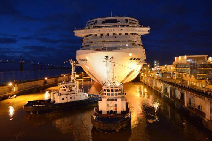 MSC Bellissima commences her float out this morning