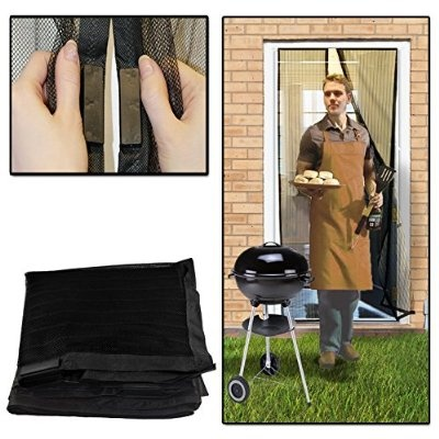 AMOS Click Screen Mesh Curtain Magic Automatic Magnetic Snap Flying Bug Insect Mosquito Wasp Bee Moth Flies Fly Repellent Screen Door Guard Protective Net Netting (Black)
