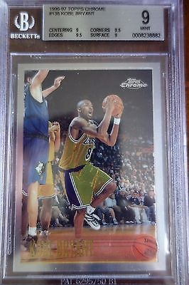 1996 97 Topps Chrome Basketball 138 Kobe Bryant Lakers Rookie Card Bgs 9 Mint For Sale