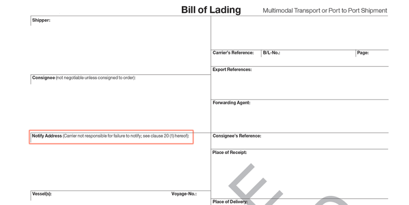 Notify party on bill of lading