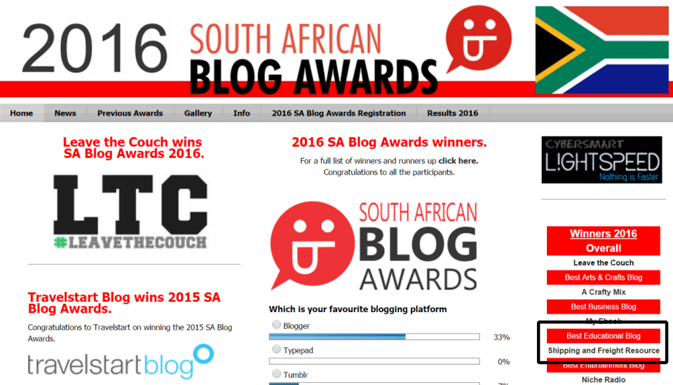Best educational blog in SA Blog Awards 2016