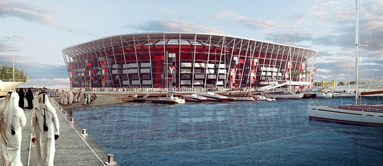 qatar world cup soccer stadium shipping container