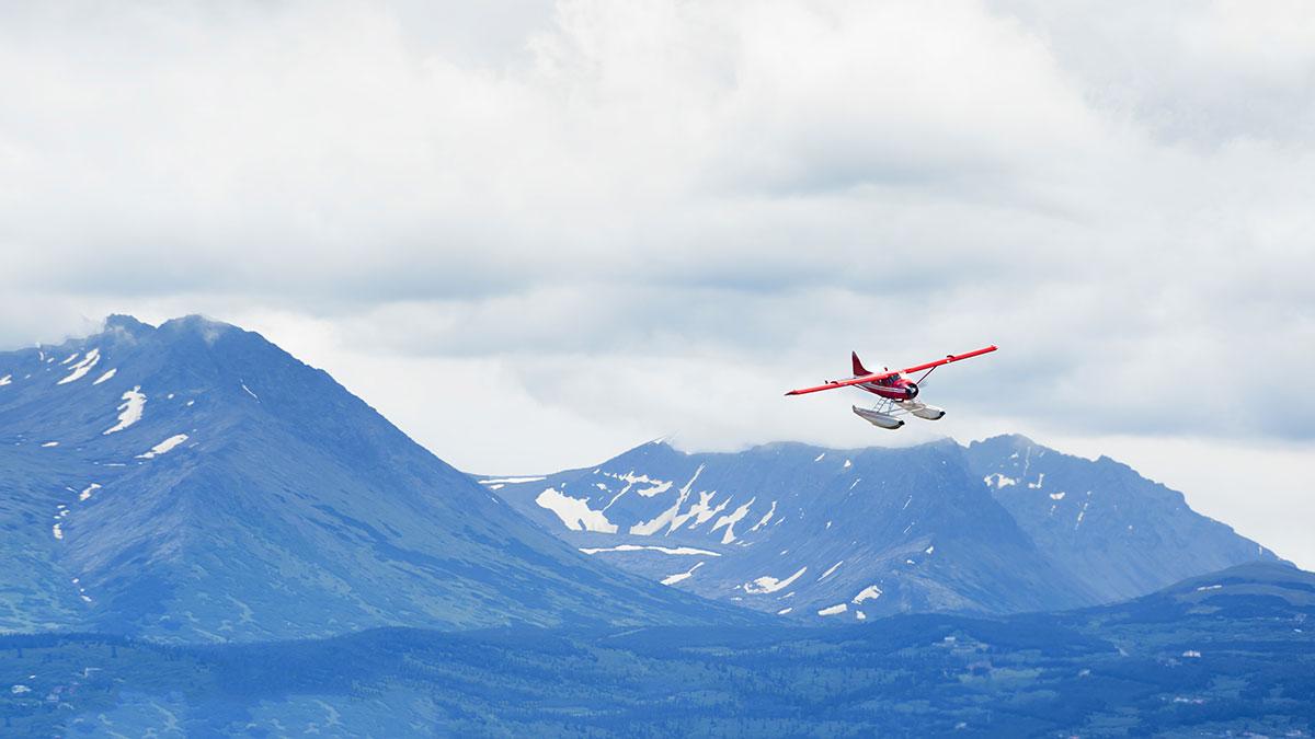Plane flying over Alaska
