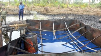 Nigerian Navy destroys illegal refinery, remove 1.59 million litres of diesel