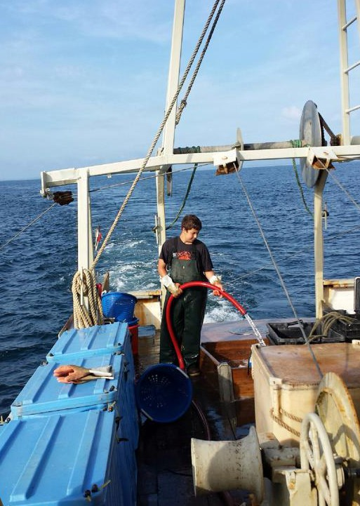 Zach Keding aboard the F/V Shearwater out of Plymouth.