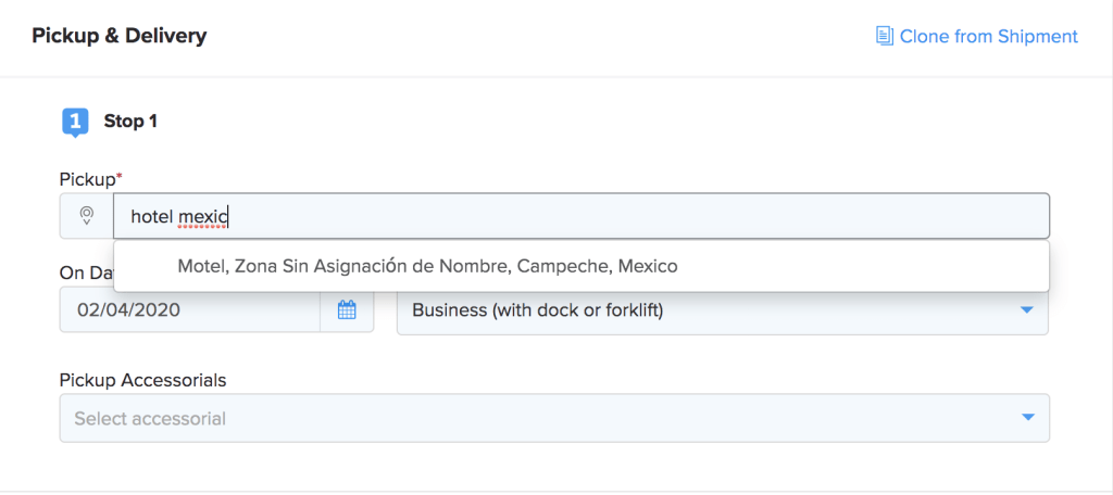 Image of a Mexico address being made in the Shipwell Platform.