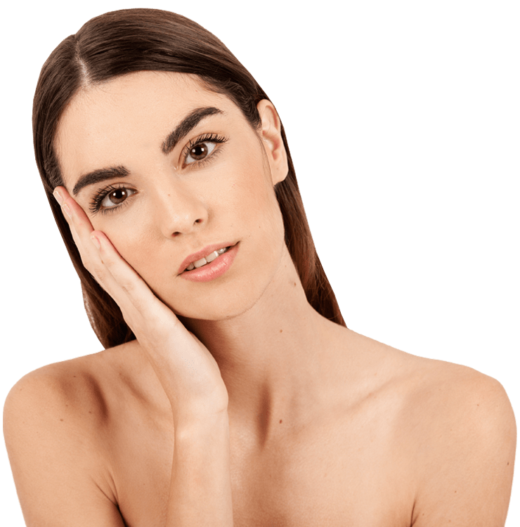 Women with microbladed eyebrows