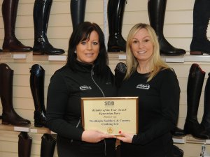 Vicki and Gemma the owners of Westleighs Saddlery & Country Clothing with their certificate
