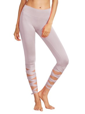Women Legging Cutout Tie Cuff Slim Yoga Pants Jogger Workout Tights Thistle