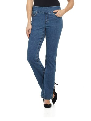 "Jeans Women's ""Ease In To Comfort Fit"" Pull-On Stretch Bootcut Denim Pants"