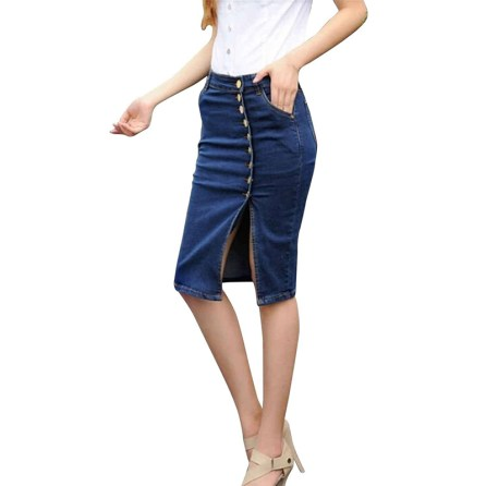 Womens Denim Pencil Pocket Split Asymmetrical Hem Bodycon Jeans Skirts
