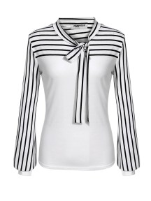 Ladies Tie-bow Neck Striped Long Sleeve Splicing Autumn Shirt