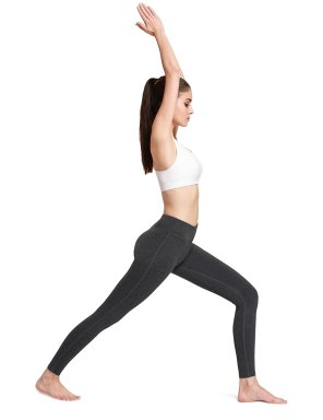 Women's Ankle Legging Inner Pocket Non See-through Fabric Charcoal
