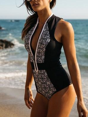 Women's One Piece Swimsuit Front Zipper Brazilian Monokini Plus Size