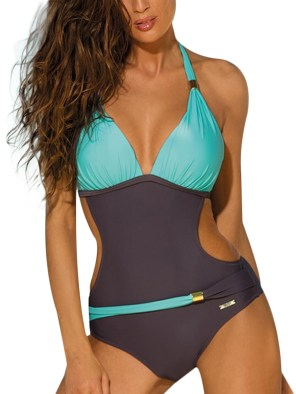 Women's One Piece Swimsuit Solid Patchwork Backless Sexy Bandage Biquini