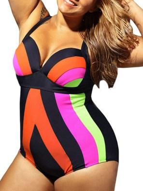 Women's Plus Size Color Block One Piece/Bikini Swimwear