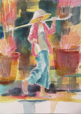Don Det Vendor II, Watercolour, 12 x 9 in